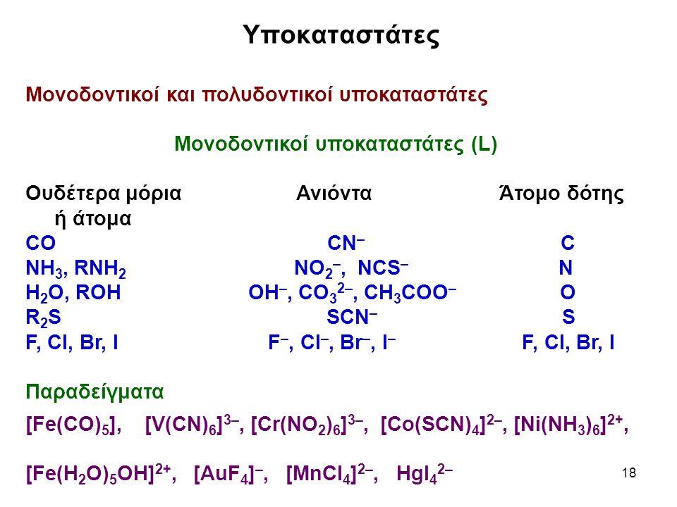 18 Υποκαταστάτες Μονοδοντικοί και πολυδοντικοί υποκαταστάτες Μονοδοντικοί υποκαταστάτες (L) Ουδέτερα μόρια ΑνιόνταΆτομο δότης ή άτομα CΟ CΝ – C ΝΗ 3,
