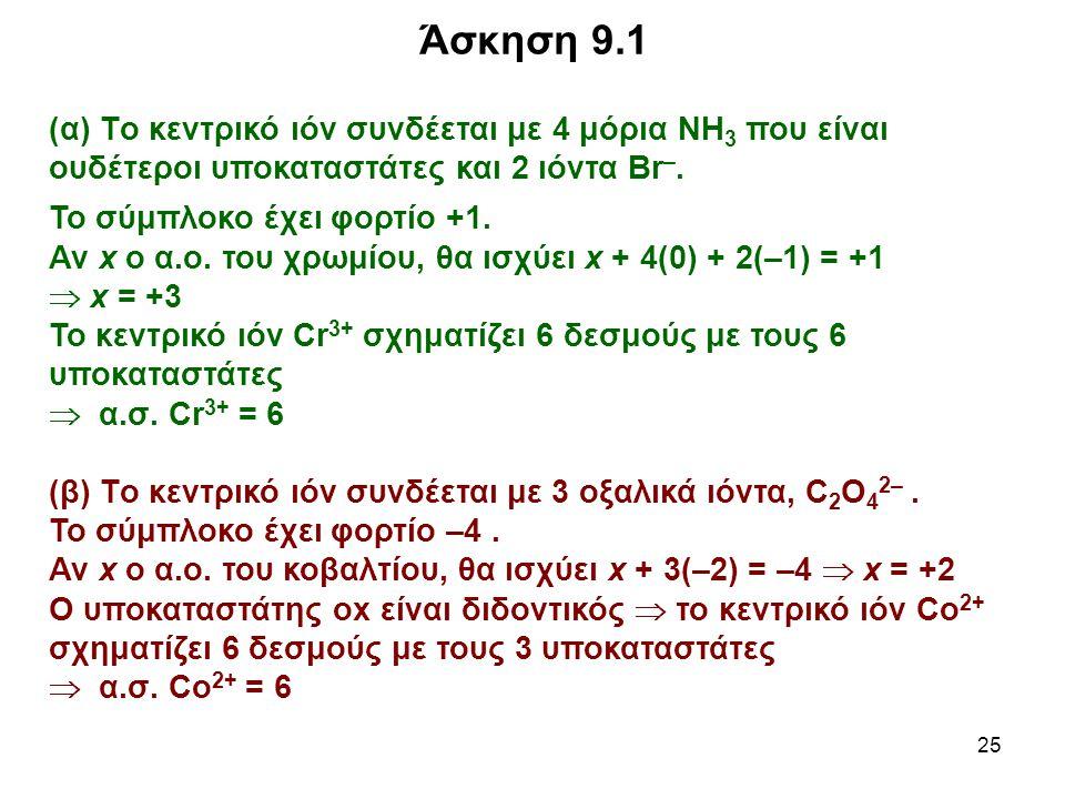 25 (α) Tο κεντρικό ιόν συνδέεται με 4 μόρια ΝΗ 3 που είναι ουδέτεροι υποκαταστάτες και 2 ιόντα Br –. Το σύμπλοκο έχει φορτίο +1. Αν x ο α.ο. του χρωμί