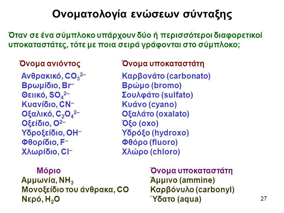 27 Ονοματολογία ενώσεων σύνταξης Όταν σε ένα σύμπλοκο υπάρχουν δύο ή περισσότεροι διαφορετικοί υποκαταστάτες, τότε με ποια σειρά γράφονται στο σύμπλοκ