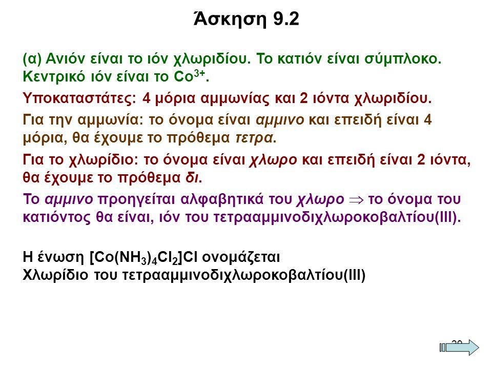 29 (α) Ανιόν είναι το ιόν χλωριδίου. Το κατιόν είναι σύμπλοκο. Κεντρικό ιόν είναι το Co 3+. Υποκαταστάτες: 4 μόρια αμμωνίας και 2 ιόντα χλωριδίου. Για