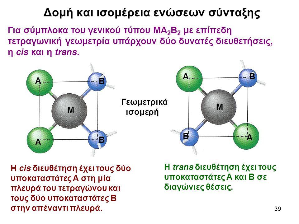 39 Για σύμπλοκα του γενικού τύπου ΜΑ 2 Β 2 με επίπεδη τετραγωνική γεωμετρία υπάρχουν δύο δυνατές διευθετήσεις, η cis και η trans. Δομή και ισομέρεια ε