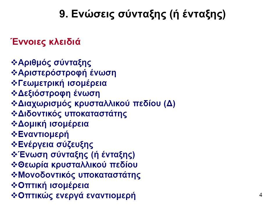 4 Έννοιες κλειδιά  Αριθμός σύνταξης  Αριστερόστροφή ένωση  Γεωμετρική ισομέρεια  Δεξιόστροφη ένωση  Διαχωρισμός κρυσταλλικού πεδίου (Δ)  Διδοντι