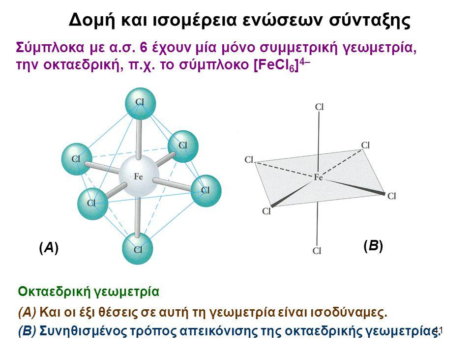41 Σύμπλοκα με α.σ. 6 έχουν μία μόνο συμμετρική γεωμετρία, την οκταεδρική, π.χ. το σύμπλοκο [FeCl 6 ] 4– Οκταεδρική γεωμετρία (Α) Και οι έξι θέσεις σε