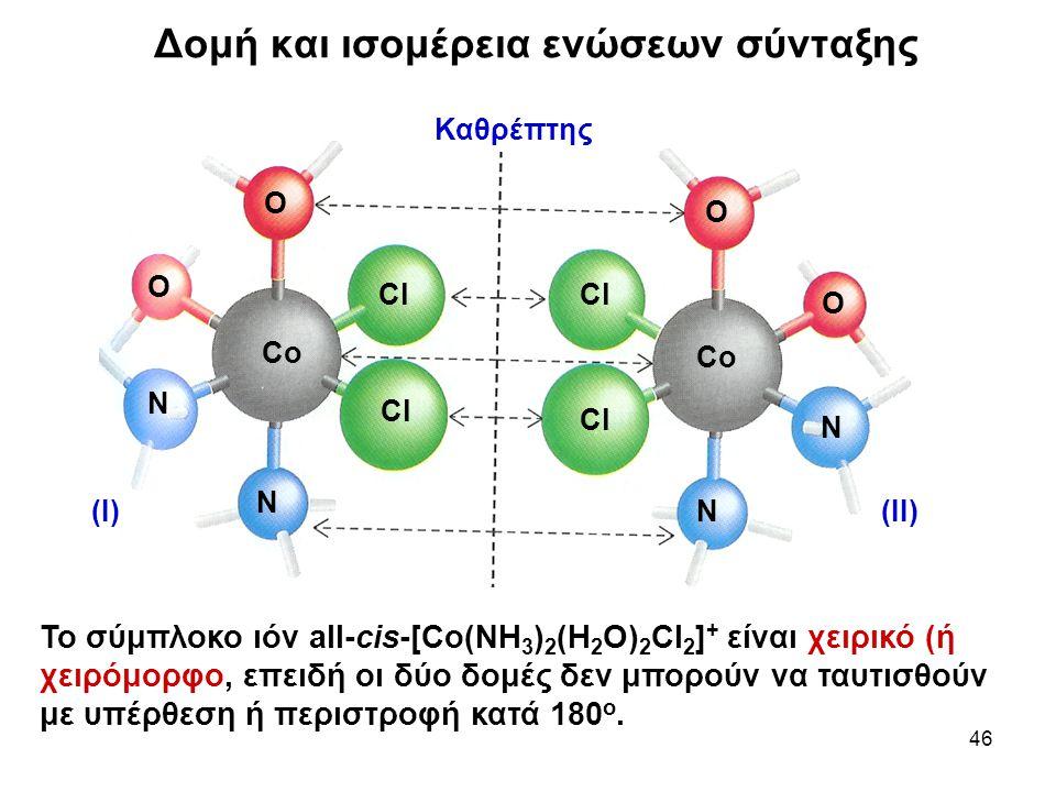 46 Το σύμπλοκο ιόν all-cis-[Co(NH 3 ) 2 (H 2 O) 2 Cl 2 ] + είναι χειρικό (ή χειρόμορφο, επειδή οι δύο δομές δεν μπορούν να ταυτισθούν με υπέρθεση ή πε