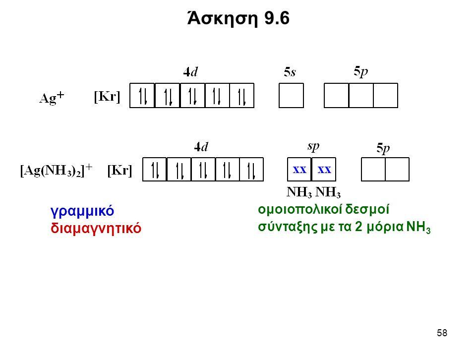 58 Άσκηση 9.6 ομοιοπολικοί δεσμοί σύνταξης με τα 2 μόρια ΝΗ 3 γραμμικό διαμαγνητικό