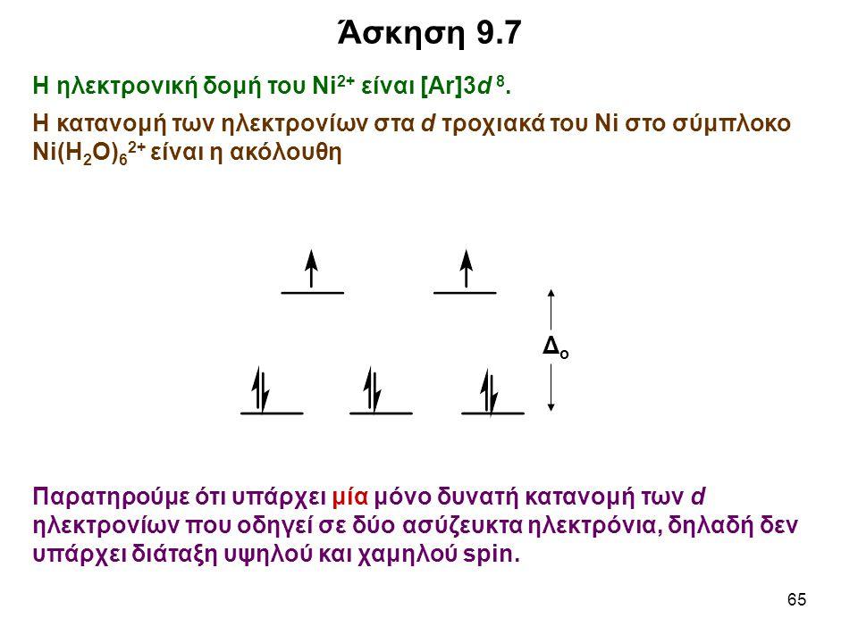 65 Η ηλεκτρονική δομή του Ni 2+ είναι [Ar]3d 8. Η κατανομή των ηλεκτρονίων στα d τροχιακά του Ni στο σύμπλοκο Ni(H 2 O) 6 2+ είναι η ακόλουθη Άσκηση 9