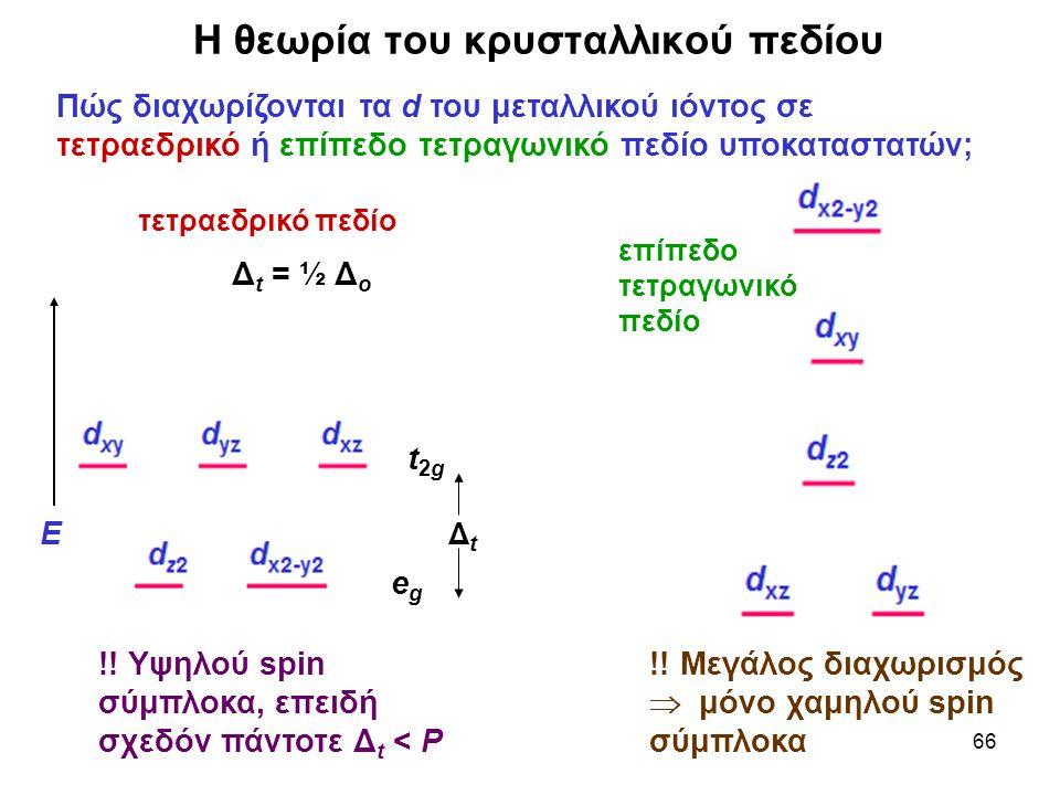 66 Η θεωρία του κρυσταλλικού πεδίου Πώς διαχωρίζονται τα d του μεταλλικού ιόντος σε τετραεδρικό ή επίπεδο τετραγωνικό πεδίο υποκαταστατών; !! Υψηλού s