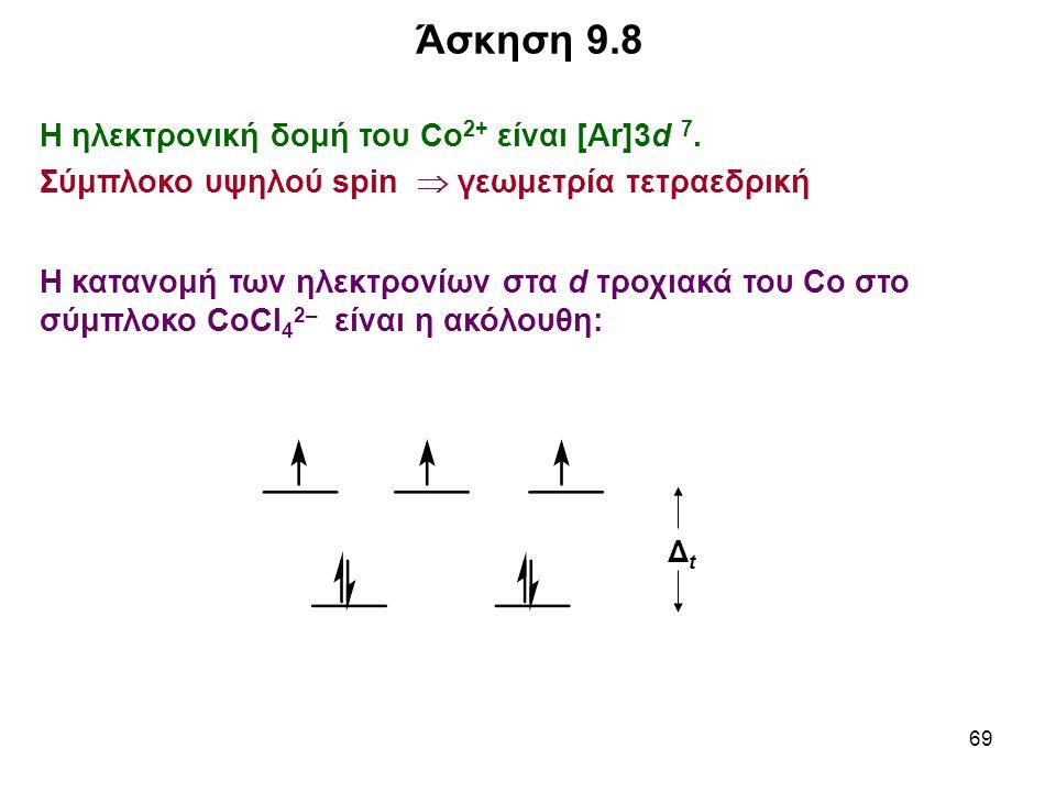 69 Η ηλεκτρονική δομή του Co 2+ είναι [Ar]3d 7. Σύμπλοκο υψηλού spin  γεωμετρία τετραεδρική Η κατανομή των ηλεκτρονίων στα d τροχιακά του Co στο σύμπ