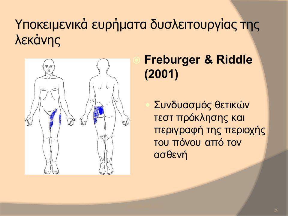 Υποκειμενικά ευρήματα δυσλειτουργίας της λεκάνης  Freburger & Riddle (2001) Συνδυασμός θετικών τεστ πρόκλησης και περιγραφή της περιοχής του πόνου απ