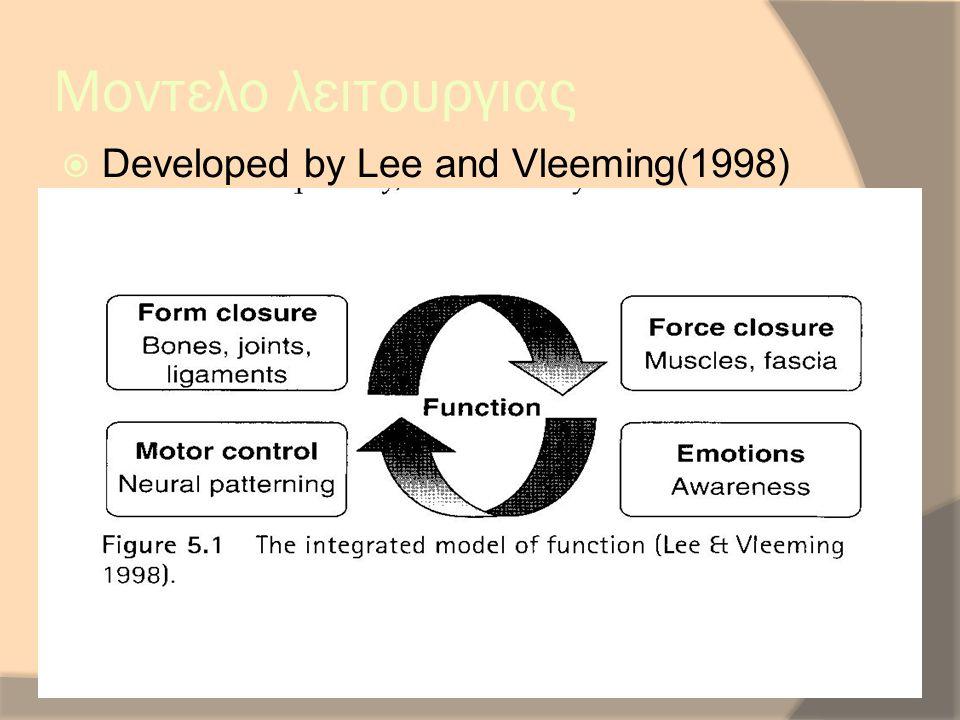 Μοντελο λειτουργιας  Developed by Lee and Vleeming(1998)