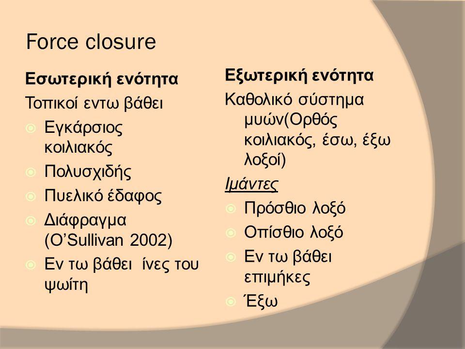 Force closure Εσωτερική ενότητα Τοπικοί εντω βάθει  Εγκάρσιος κοιλιακός  Πολυσχιδής  Πυελικό έδαφος  Διάφραγμα (O'Sullivan 2002)  Εν τω βάθει ίνες του ψωίτη Εξωτερική ενότητα Καθολικό σύστημα μυών(Ορθός κοιλιακός, έσω, έξω λοξοί) Ιμάντες  Πρόσθιο λοξό  Οπίσθιο λοξό  Εν τω βάθει επιμήκες  Έξω