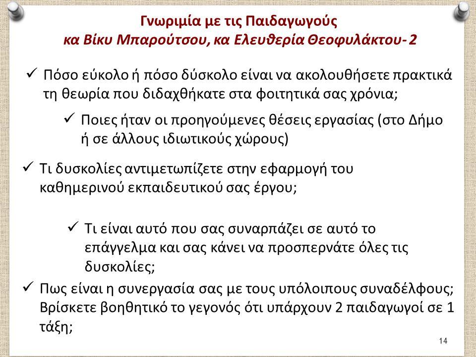 Γνωριμία με τις Παιδαγωγούς κα Βίκυ Μπαρούτσου, κα Ελευθερία Θεοφυλάκτου- 2 Πόσο εύκολο ή πόσο δύσκολο είναι να ακολουθήσετε πρακτικά τη θεωρία που διδαχθήκατε στα φοιτητικά σας χρόνια; Ποιες ήταν οι προηγούμενες θέσεις εργασίας (στο Δήμο ή σε άλλους ιδιωτικούς χώρους) Τι δυσκολίες αντιμετωπίζετε στην εφαρμογή του καθημερινού εκπαιδευτικού σας έργου; Τι είναι αυτό που σας συναρπάζει σε αυτό το επάγγελμα και σας κάνει να προσπερνάτε όλες τις δυσκολίες; Πως είναι η συνεργασία σας με τους υπόλοιπους συναδέλφους; Βρίσκετε βοηθητικό το γεγονός ότι υπάρχουν 2 παιδαγωγοί σε 1 τάξη; 14