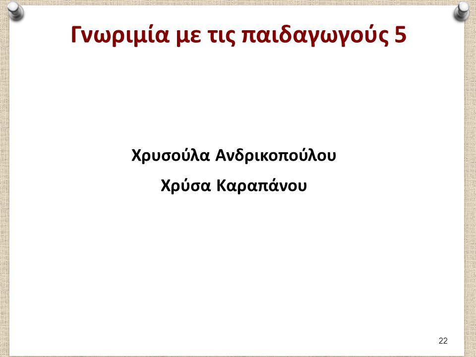 Γνωριμία με τις παιδαγωγούς 5 Χρυσούλα Ανδρικοπούλου Χρύσα Καραπάνου 22