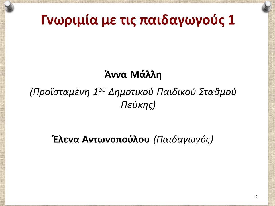 Γνωριμία με τις Παιδαγωγούς κα Άννα Μάλλη (Προϊσταμένη), κα Έλενα Αντωνοπούλου- 1 Θα θέλατε να μας πείτε λίγα λόγια για την ακαδημαϊκή σας πορεία; (πτυχία, επιμόρφωση) Ποιες ήταν οι προηγούμενες θέσεις εργασίας (στο Δήμο ή σε άλλους ιδιωτικούς χώρους) Υπάρχει διαφορά ανάμεσα στην τωρινή θέση απασχόλησης και στις προηγούμενες; (πχ στον τρόπο αντιμετώπισης καταστάσεων, διαμόρφωση χώρου, προγράμματος) Θα θέλατε να μας περιγράψετε πως είναι μία καθημερινή μέρα στον ΠΣ; Μπορείτε να μας περιγράψετε την παιδαγωγική προσέγγιση που ακολουθείτε; Μου έχετε μιλήσει για μία πρωτοποριακή προσέγγιση στον τρόπο προετοιμασίας της καλοκαιρινής γιορτής.
