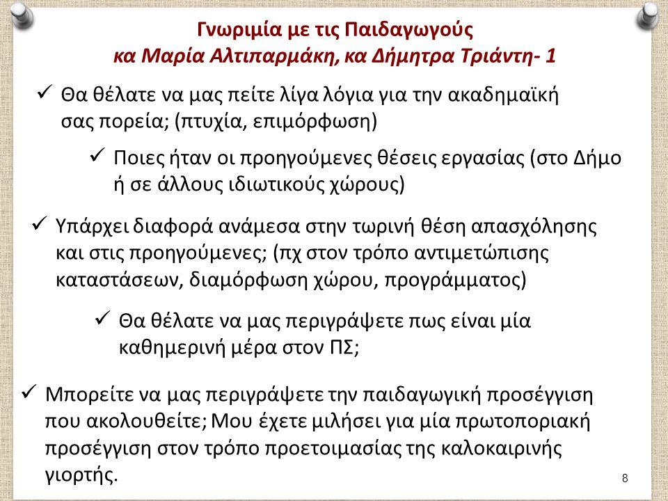 Γνωριμία με τις Παιδαγωγούς κα Μαρία Αλτιπαρμάκη, κα Δήμητρα Τριάντη- 2 Πόσο εύκολο ή πόσο δύσκολο είναι να ακολουθήσετε πρακτικά τη θεωρία που διδαχθήκατε στα φοιτητικά σας χρόνια; Ποιες ήταν οι προηγούμενες θέσεις εργασίας (στο Δήμο ή σε άλλους ιδιωτικούς χώρους) Τι δυσκολίες αντιμετωπίζετε στην εφαρμογή του καθημερινού εκπαιδευτικού σας έργου; Τι είναι αυτό που σας συναρπάζει σε αυτό το επάγγελμα και σας κάνει να προσπερνάτε όλες τις δυσκολίες; Πως είναι η συνεργασία σας με τους υπόλοιπους συναδέλφους; Βρίσκετε βοηθητικό το γεγονός ότι υπάρχουν 2 παιδαγωγοί σε 1 τάξη; 9