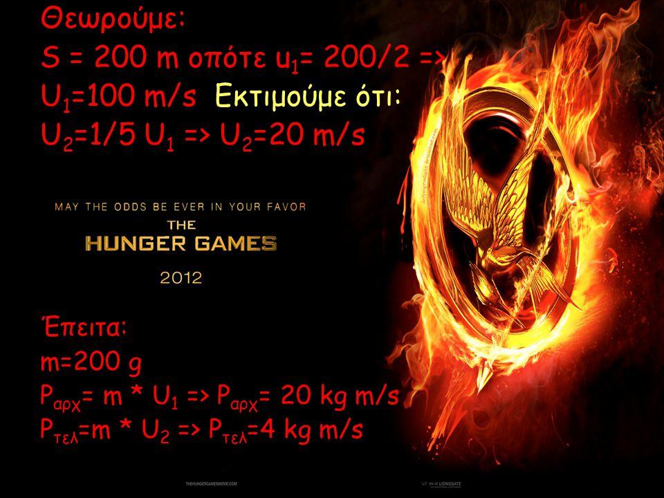 Θεωρούμε: S = 200 m οπότε u 1 = 200/2 => U 1 =100 m/s Εκτιμούμε ότι: U 2 =1/5 U 1 => U 2 =20 m/s Έπειτα: m=200 g P αρχ = m * U 1 => P αρχ = 20 kg m/s