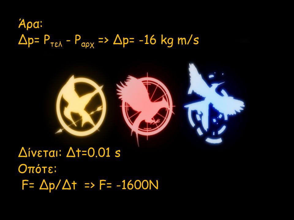 Άρα: Δp= P τελ - P αρχ => Δp= -16 kg m/s Δίνεται: Δt=0.01 s Οπότε: F= Δp/Δt => F= -1600N