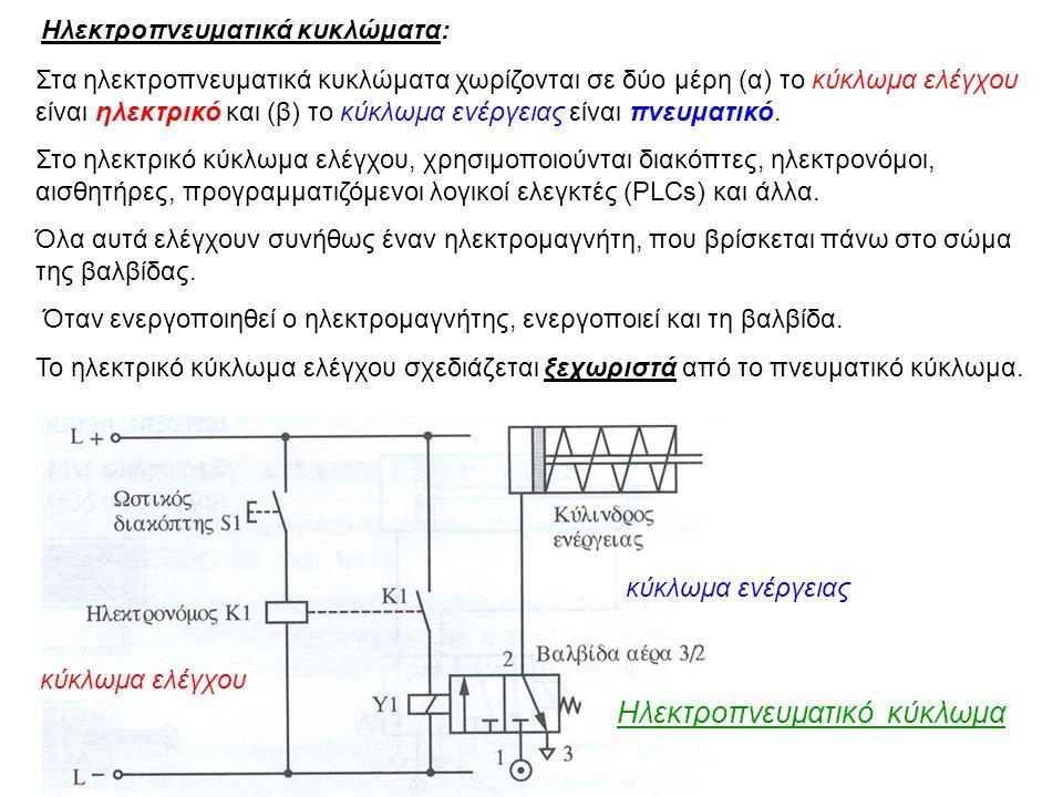 Ηλεκτροπνευματικά κυκλώματα: Στα ηλεκτροπνευματικά κυκλώματα χωρίζονται σε δύο μέρη (α) το κύκλωμα ελέγχου είναι ηλεκτρικό και (β) το κύκλωμα ενέργεια