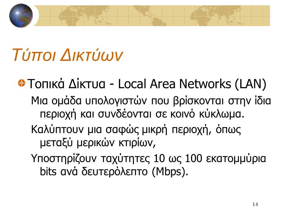 14 Τύποι Δικτύων Τοπικά Δίκτυα - Local Area Networks (LAN) Μια ομάδα υπολογιστών που βρίσκονται στην ίδια περιοχή και συνδέονται σε κοινό κύκλωμα.