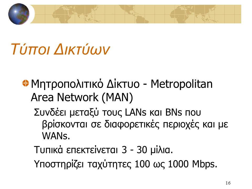 16 Τύποι Δικτύων Μητροπολιτικό Δίκτυο - Metropolitan Area Network (MAN) Συνδέει μεταξύ τους LANs και BNs που βρίσκονται σε διαφορετικές περιοχές και με WANs.