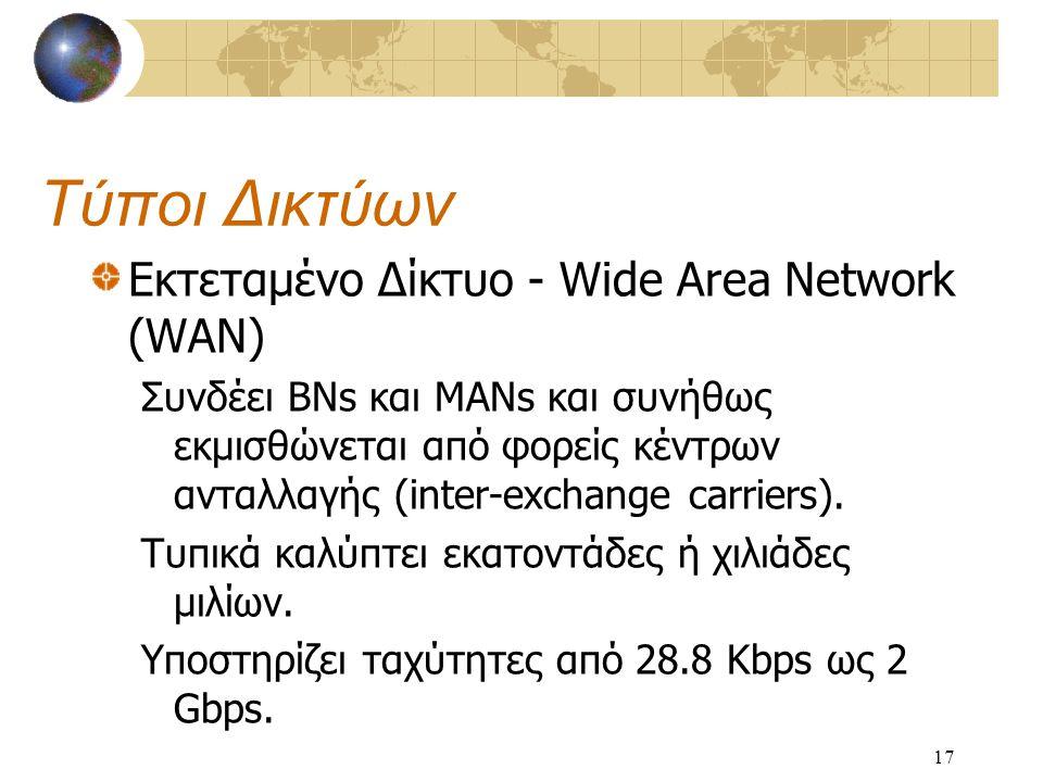 17 Τύποι Δικτύων Εκτεταμένο Δίκτυο - Wide Area Network (WAN) Συνδέει BNs και MANs και συνήθως εκμισθώνεται από φορείς κέντρων ανταλλαγής (inter-exchange carriers).