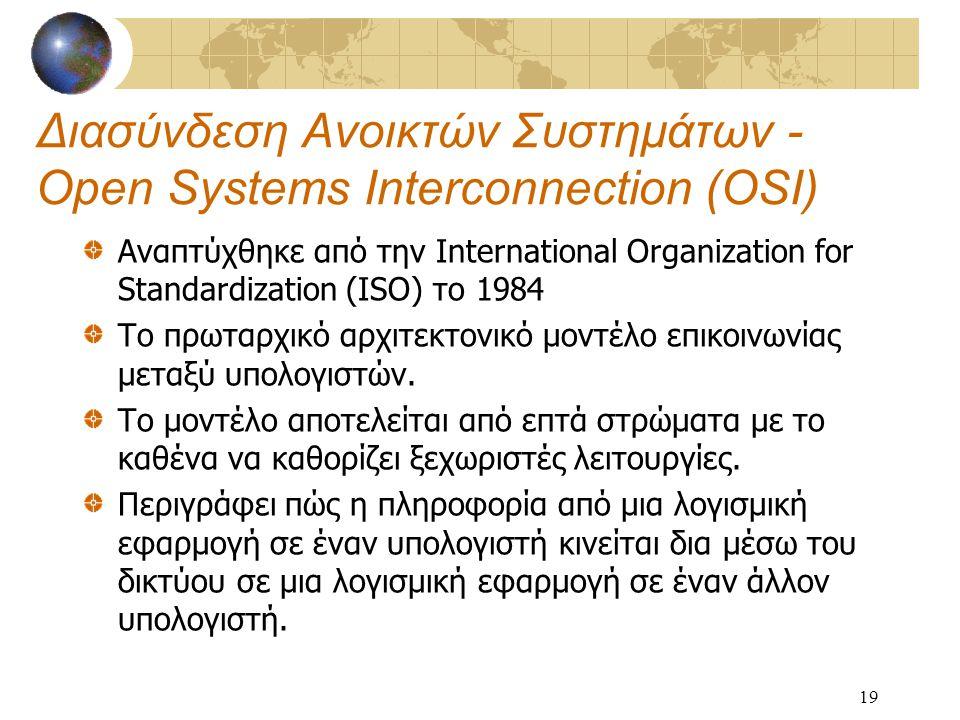 19 Διασύνδεση Ανοικτών Συστημάτων - Open Systems Interconnection (OSI) Αναπτύχθηκε από την International Organization for Standardization (ISO) το 1984 Το πρωταρχικό αρχιτεκτονικό μοντέλο επικοινωνίας μεταξύ υπολογιστών.