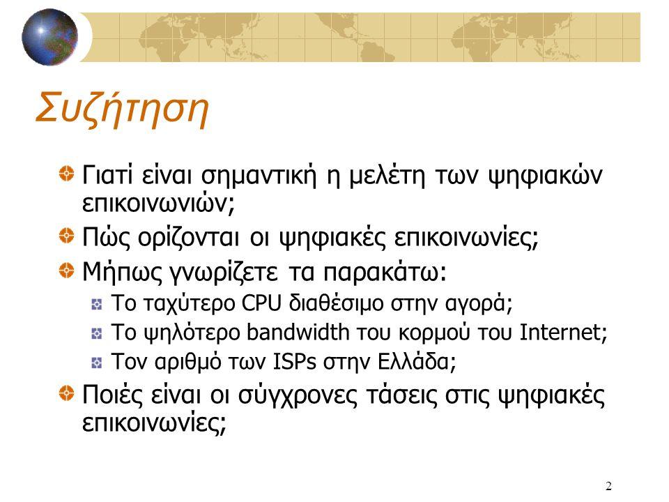 2 Συζήτηση Γιατί είναι σημαντική η μελέτη των ψηφιακών επικοινωνιών; Πώς ορίζονται οι ψηφιακές επικοινωνίες; Μήπως γνωρίζετε τα παρακάτω: Το ταχύτερο CPU διαθέσιμο στην αγορά; Το ψηλότερο bandwidth του κορμού του Internet; Τον αριθμό των ISPs στην Ελλάδα; Ποιές είναι οι σύγχρονες τάσεις στις ψηφιακές επικοινωνίες;