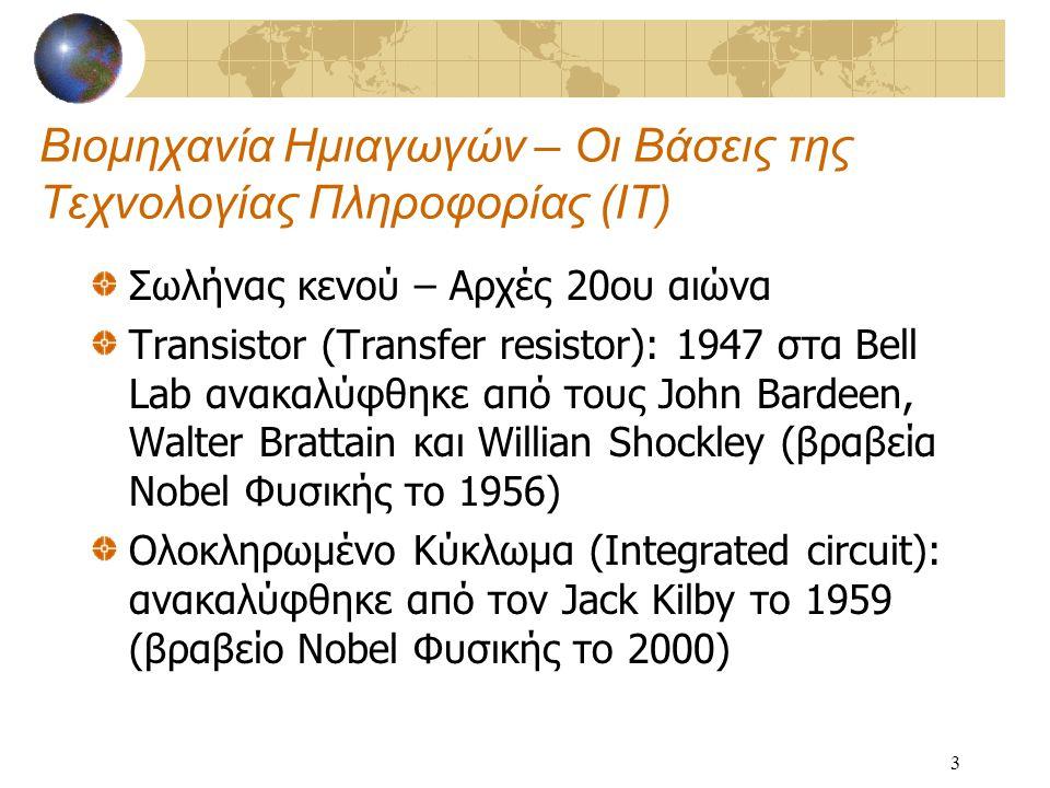 3 Βιομηχανία Ημιαγωγών – Οι Βάσεις της Τεχνολογίας Πληροφορίας (ΙΤ) Σωλήνας κενού – Αρχές 20ου αιώνα Transistor (Transfer resistor): 1947 στα Bell Lab ανακαλύφθηκε από τους John Bardeen, Walter Brattain και Willian Shockley (βραβεία Nobel Φυσικής το 1956) Ολοκληρωμένο Κύκλωμα (Integrated circuit): ανακαλύφθηκε από τον Jack Kilby το 1959 (βραβείο Nobel Φυσικής το 2000)