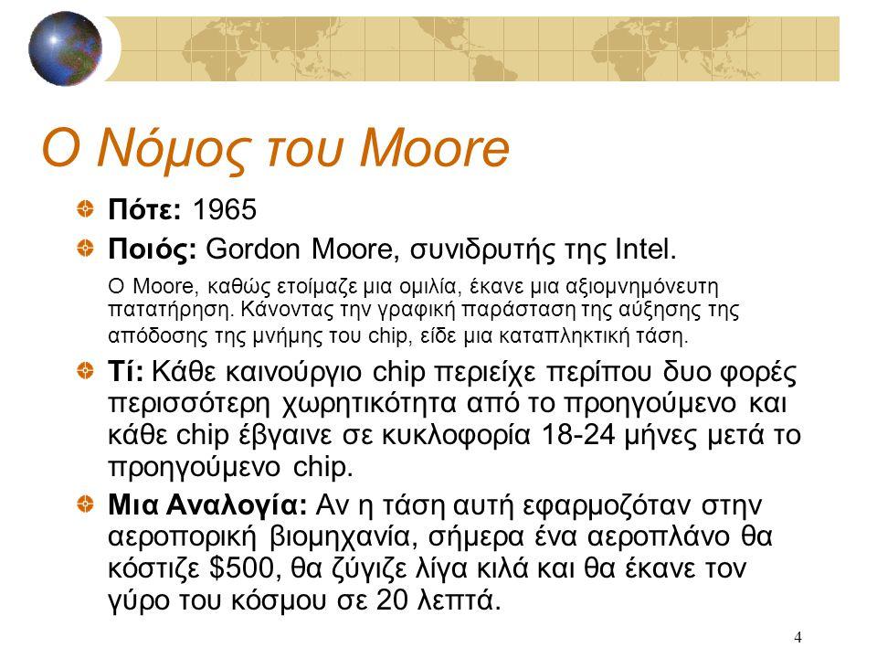 4 Ο Νόμος του Moore Πότε: 1965 Ποιός: Gordon Moore, συνιδρυτής της Intel.
