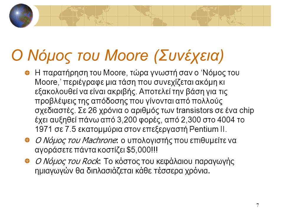 7 Ο Νόμος του Moore (Συνέχεια) Η παρατήρηση του Moore, τώρα γνωστή σαν ο 'Νόμος του Moore,' περιέγραφε μια τάση που συνεχίζεται ακόμη κι εξακολουθεί να είναι ακριβής.