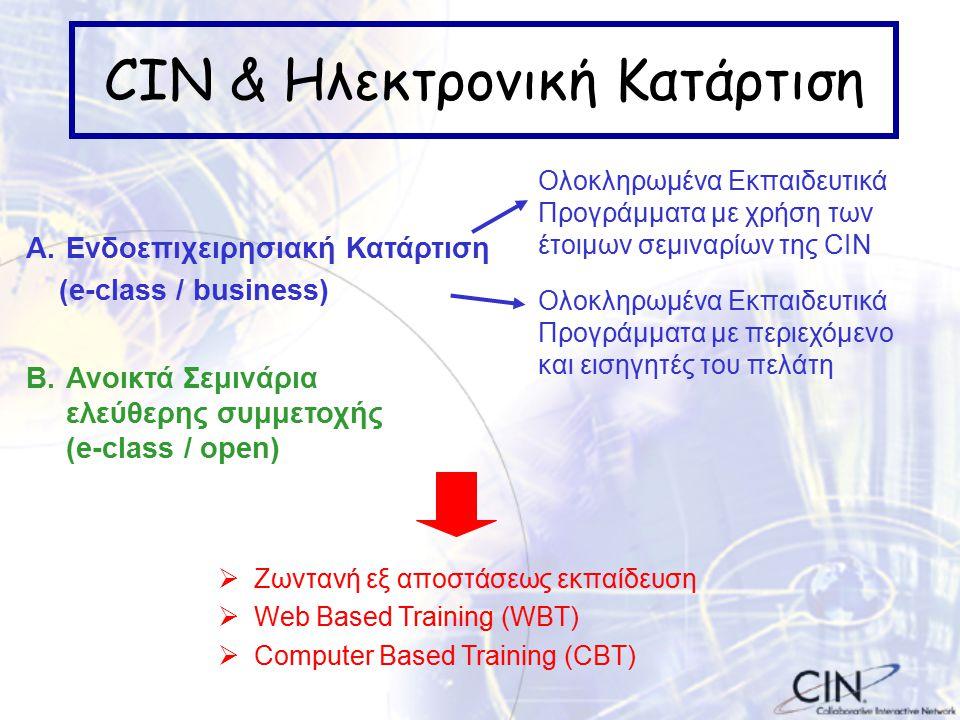 CIN & Ηλεκτρονική Κατάρτιση B.Ανοικτά Σεμινάρια ελεύθερης συμμετοχής (e-class / open) A.Ενδοεπιχειρησιακή Κατάρτιση (e-class / business) Ολοκληρωμένα Εκπαιδευτικά Προγράμματα με χρήση των έτοιμων σεμιναρίων της CIN Ολοκληρωμένα Εκπαιδευτικά Προγράμματα με περιεχόμενο και εισηγητές του πελάτη  Ζωντανή εξ αποστάσεως εκπαίδευση  Web Based Training (WBT)  Computer Based Training (CBT)