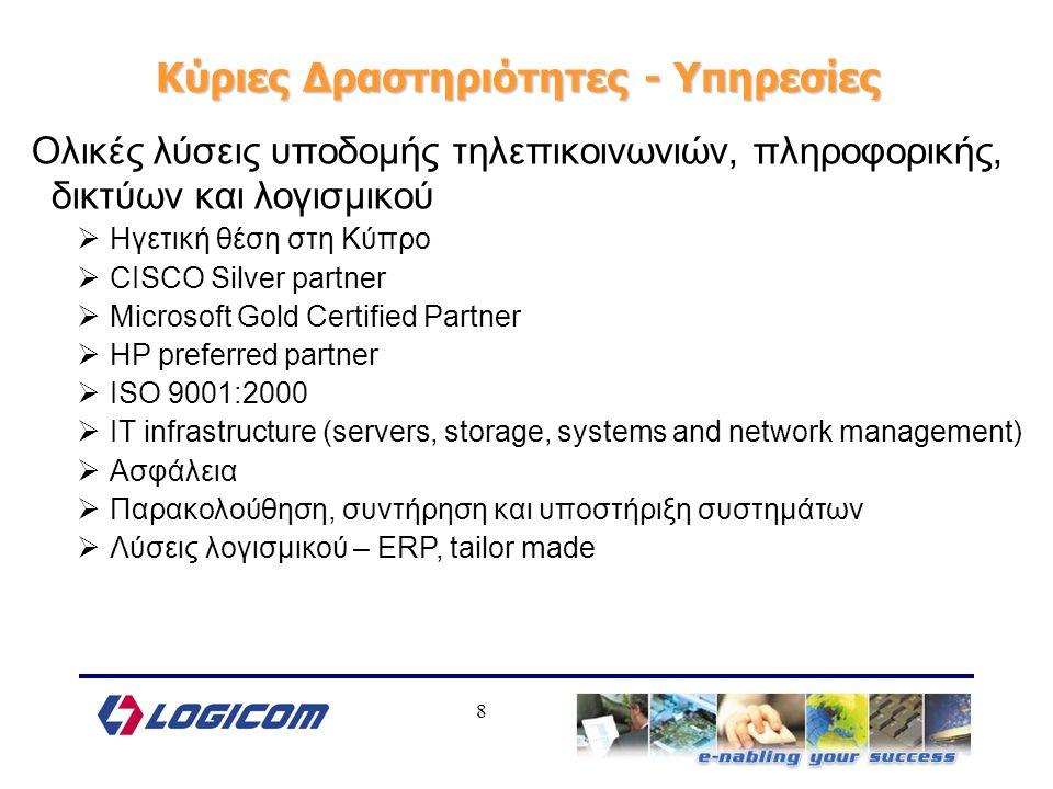 8 Κύριες Δραστηριότητες - Υπηρεσίες Ολικές λύσεις υποδομής τηλεπικοινωνιών, πληροφορικής, δικτύων και λογισμικού  Ηγετική θέση στη Κύπρο  CISCO Silver partner  Microsoft Gold Certified Partner  HP preferred partner  ISO 9001:2000  IT infrastructure (servers, storage, systems and network management)  Ασφάλεια  Παρακολούθηση, συντήρηση και υποστήριξη συστημάτων  Λύσεις λογισμικού – ERP, tailor made