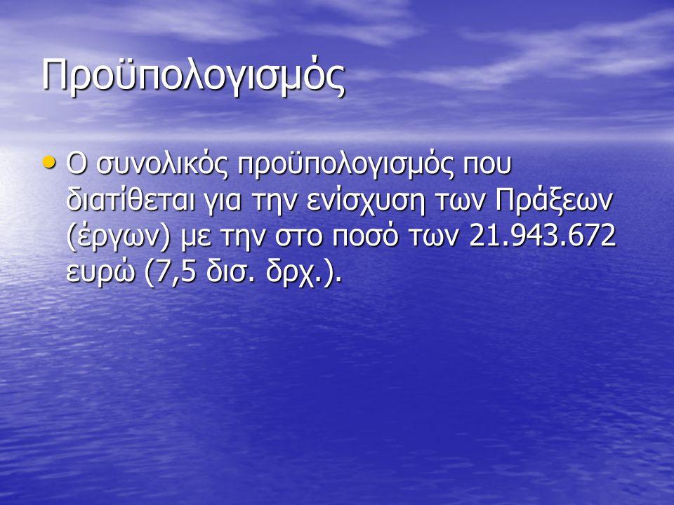 Προϋπολογισμός Ο συνολικός προϋπολογισμός που διατίθεται για την ενίσχυση των Πράξεων (έργων) με την στο ποσό των 21.943.672 ευρώ (7,5 δισ.