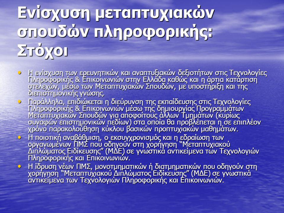Ενίσχυση μεταπτυχιακών σπουδών πληροφορικής: Στόχοι Η ενίσχυση των ερευνητικών και αναπτυξιακών δεξιοτήτων στις Τεχνολογίες Πληροφορικής & Επικοινωνιών στην Ελλάδα καθώς και η άρτια κατάρτιση στελεχών, μέσω των Μεταπτυχιακών Σπουδών, με υποστήριξη και της διεπιστημονικής γνώσης.