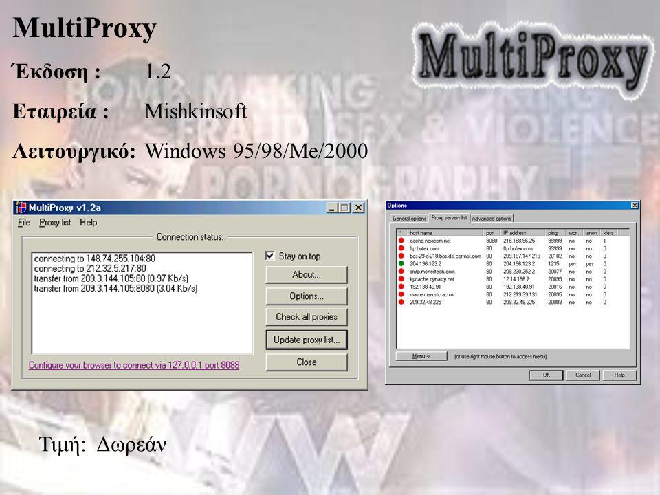 MultiProxy Έκδοση :1.2 Εταιρεία :Mishkinsoft Λειτουργικό:Windows 95/98/Me/2000 Τιμή: Δωρεάν