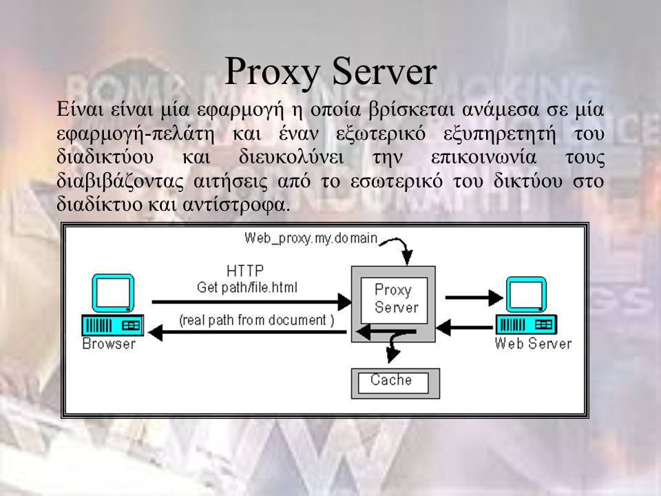 Proxy Server Είναι είναι μία εφαρμογή η οποία βρίσκεται ανάμεσα σε μία εφαρμογή-πελάτη και έναν εξωτερικό εξυπηρετητή του διαδικτύου και διευκολύνει τ