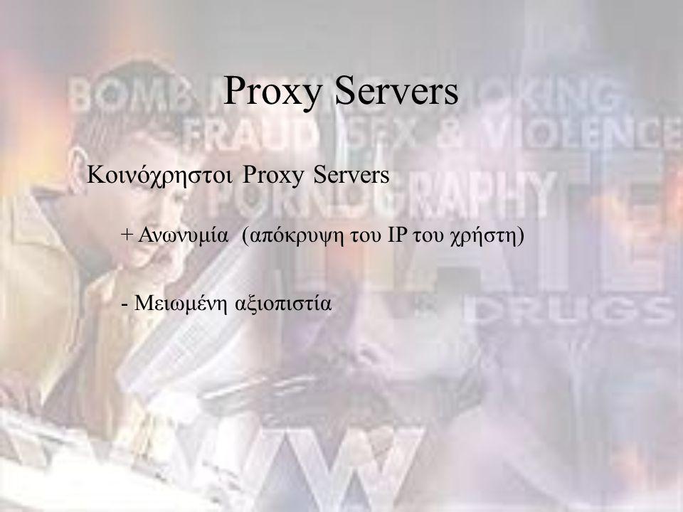 Κοινόχρηστοι Proxy Servers + Ανωνυμία (απόκρυψη του IP του χρήστη) - Μειωμένη αξιοπιστία