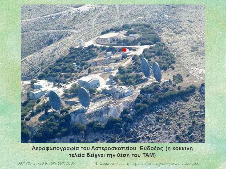 Αθήνα, 27-28 Ιανουαρίου 2005 1 ο Συμπόσιο για την Έρευνα και Τεχνολογία στην Ελλάδα. Αεροφωτογραφία του Αστεροσκοπείου 'Εύδοξος' (η κόκκινη τελεία δεί