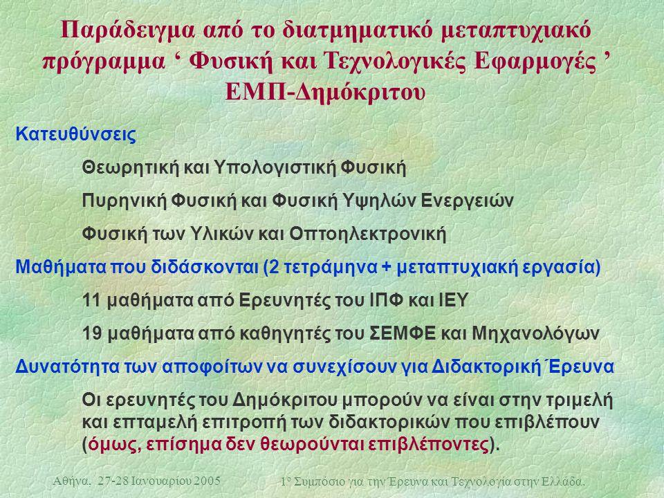 Αθήνα, 27-28 Ιανουαρίου 2005 1 ο Συμπόσιο για την Έρευνα και Τεχνολογία στην Ελλάδα. Παράδειγμα από το διατμηματικό μεταπτυχιακό πρόγραμμα ' Φυσική κα