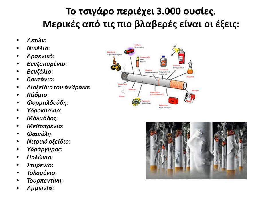 Το τσιγάρο περιέχει 3.000 ουσίες. Μερικές από τις πιο βλαβερές είναι οι έξεις: Αετών: Νικέλιο: Αρσενικό: Βενζοπυρένιο: Βενζόλιο: Βουτάνιο: Διοξείδιο τ