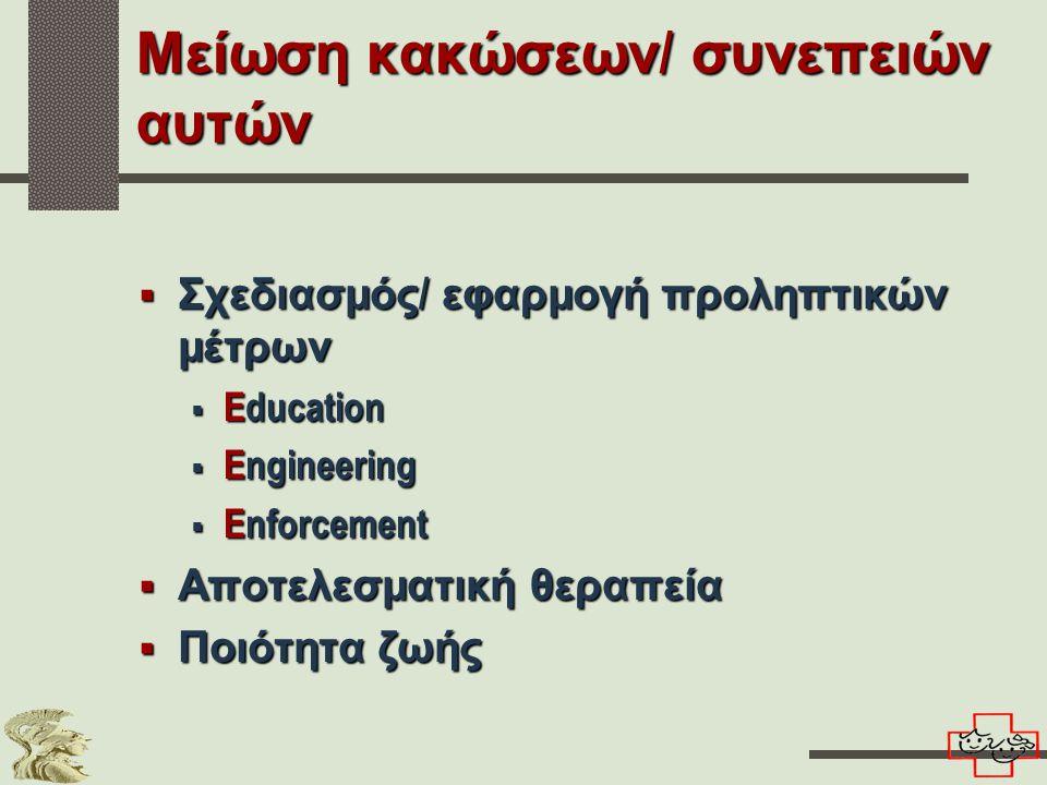 Μείωση κακώσεων / συνεπειών αυτών  Σχεδιασμός / εφαρμογή προληπτικών μέτρων  Education  Engineering  Enforcement  Αποτελεσματική θεραπεία  Ποιότητα ζωής