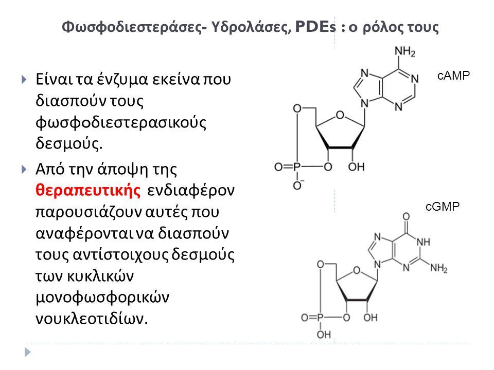 Φωσφοδιεστεράσες - Υδρολάσες, PDEs : o ρόλος τους  Είναι τα ένζυμα εκείνα που διασπούν τους φωσφ o διεστερασικούς δεσμούς.  Από την άποψη της θεραπε