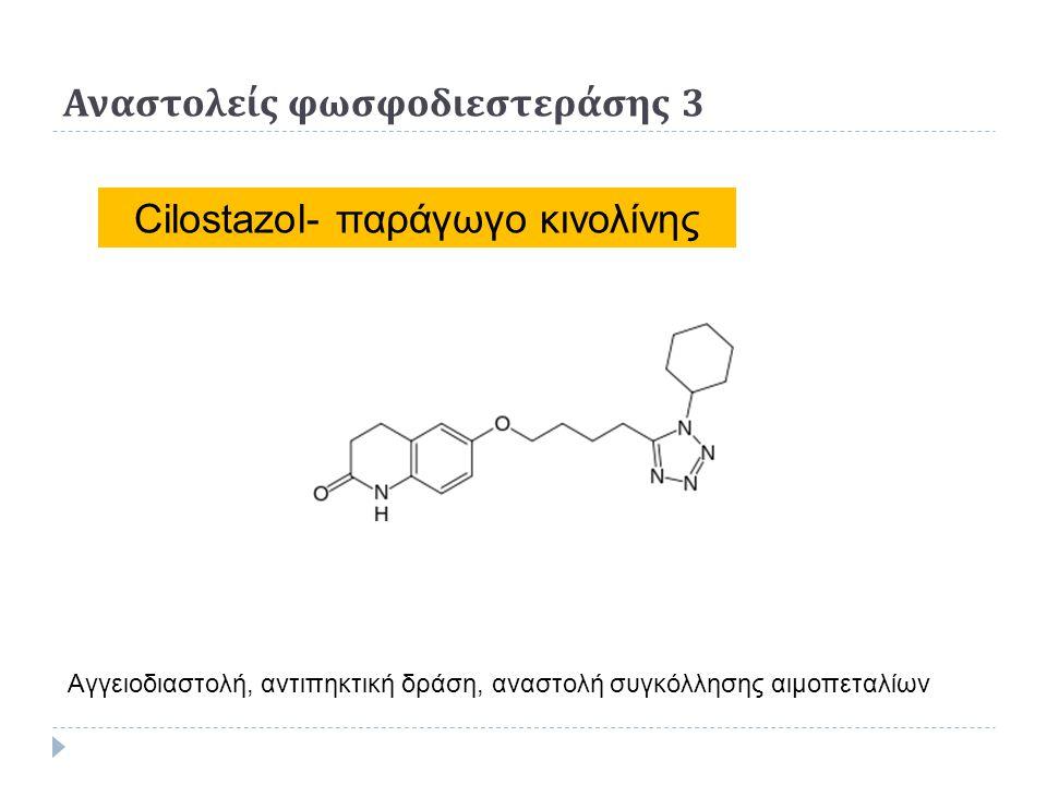 Αναστολείς φωσφοδιεστεράσης 3 Cilostazol- παράγωγο κινολίνης Αγγειοδιαστολή, αντιπηκτική δράση, αναστολή συγκόλλησης αιμοπεταλίων