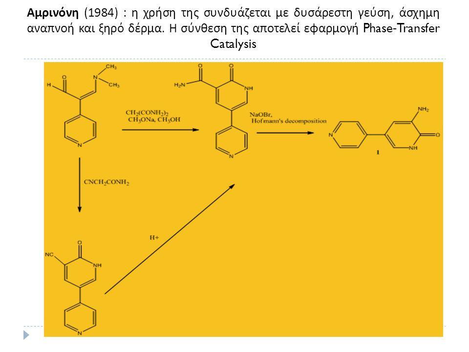 Αμρινόνη (1984) : η χρήση της συνδυάζεται με δυσάρεστη γεύση, άσχημη αναπνοή και ξηρό δέρμα. Η σύνθεση της αποτελεί εφαρμογή Phase-Transfer Catalysis