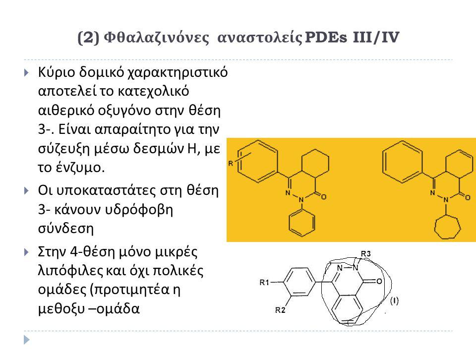 (2) Φθαλαζινόνες αναστολείς PDEs III/IV  Κύριο δομικό χαρακτηριστικό αποτελεί το κατεχολικό αιθερικό οξυγόνο στην θέση 3-. Είναι απαραίτητο για την σ