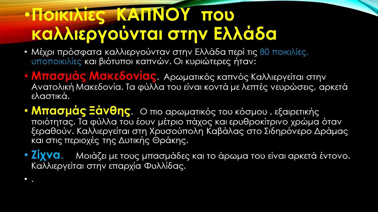 Ποικιλίες ΚΑΠΝΟΥ που καλλιεργούνται στην Ελλάδα Μέχρι πρόσφατα καλλιεργούνταν στην Ελλάδα περί τις 80 ποικιλίες, υποποικιλίες και βιότυποι καπνών. Οι