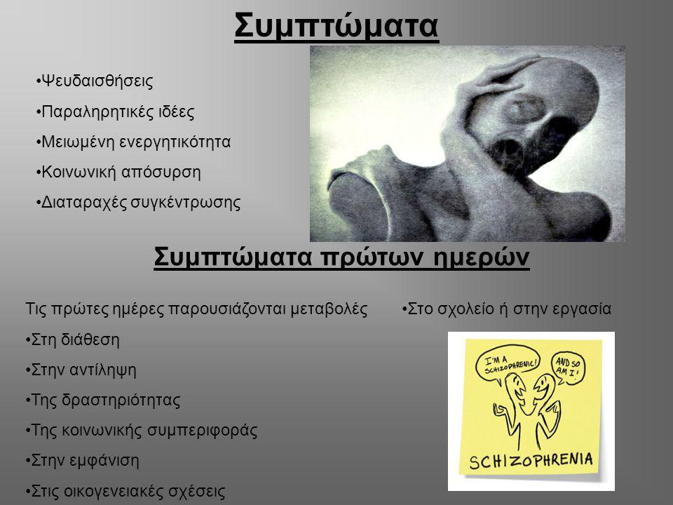 Συμπτώματα Ψευδαισθήσεις Παραληρητικές ιδέες Μειωμένη ενεργητικότητα Κοινωνική απόσυρση Διαταραχές συγκέντρωσης Συμπτώματα πρώτων ημερών Τις πρώτες ημ