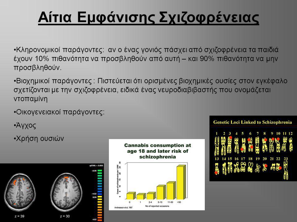 Αίτια Εμφάνισης Σχιζοφρένειας Κληρονομικοί παράγοντες: αν ο ένας γονιός πάσχει από σχιζοφρένεια τα παιδιά έχουν 10% πιθανότητα να προσβληθούν από αυτή