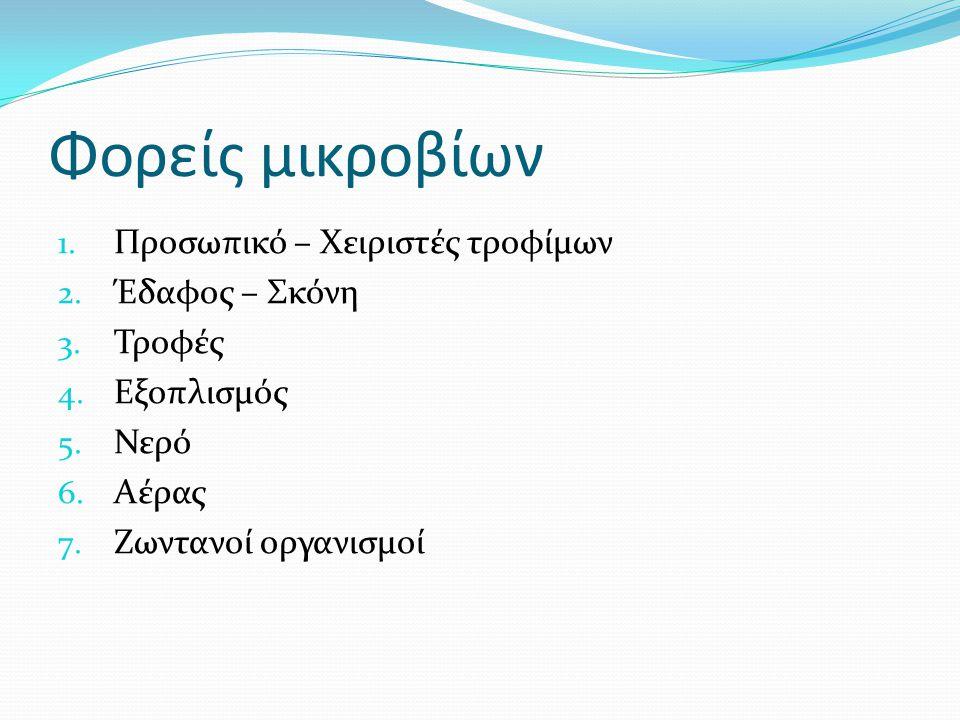 Φορείς μικροβίων 1. Προσωπικό – Χειριστές τροφίμων 2. Έδαφος – Σκόνη 3. Τροφές 4. Εξοπλισμός 5. Νερό 6. Αέρας 7. Ζωντανοί οργανισμοί
