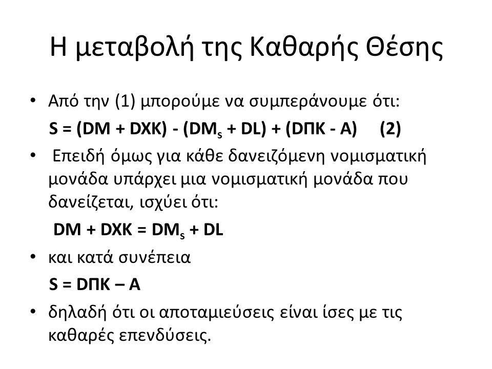 Η μεταβολή της Καθαρής Θέσης Από την (1) μπορούμε να συμπεράνουμε ότι: S = (DM + DXK) - (DM s + DL) + (DΠK - A) (2) Επειδή όμως για κάθε δανειζόμενη ν